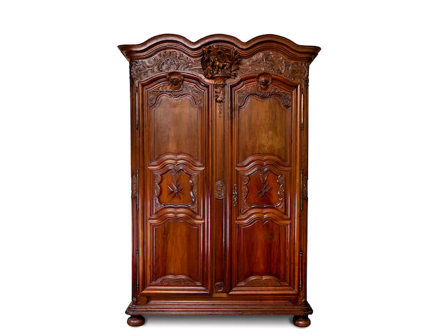 A large French 18th century walnut armoire