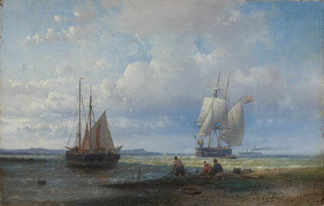 Abraham Hulk, Snr (Dutch, 1813-1897) Fishermen mending their nets on the beach, a trading brig standing out to sea and a steamer beyond unframed
