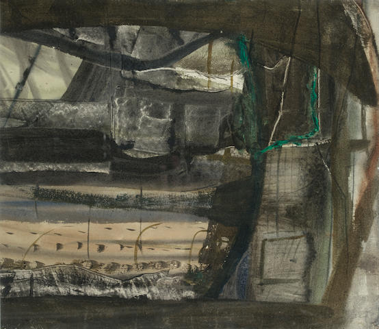 Peter Lanyon (British, 1918-1964) Winter Landscape, Anticoli Corrado 32 x 36 in. (12 1/2 x 14 1/4 in.)