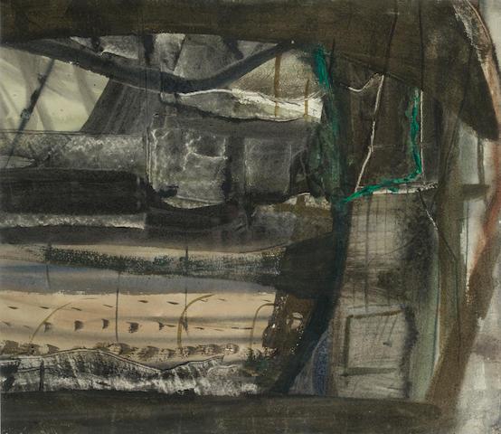 Peter Lanyon (British, 1918-1964) Winter Landscape, Anticoli Corrado 32 x 36 in. (12 1/2 x 14 1/4 in.)