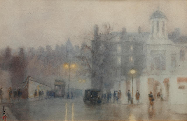 Yoshio Markino (Japanese, 1874-1956) London Street scene
