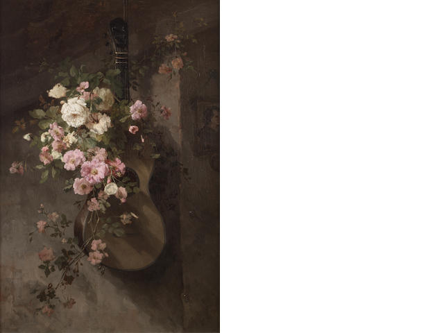 Frans David Oerder (Dutch, 1867-1944) Still life with guitar and roses