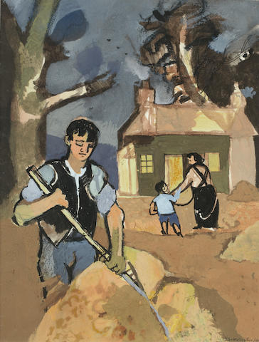 Keith Vaughan (British, 1912-1977) Man Raking Leaves 35.5 x 27.5 cm. (14 x 10 3/4 in.)
