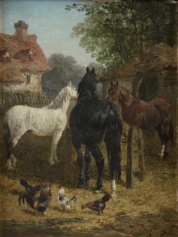 John Frederick Herring, Jnr. (British, 1815-1907) Horses at a trough; Cattle watering at a stream