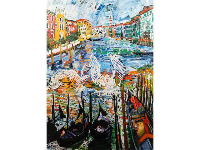 John Bratby R.A. (British, 1928-1992) Venetian canal scene with Rialto Bridge beyond