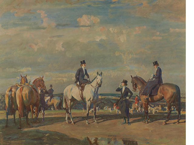 Sir Alfred James Munnings P.R.A., R.W.S. (British, 1878-1959) 'Why weren't you out yesterday?' A colour print, signed in pencil in the margin, published by Frost & Reed 1941 with embossed stamp, 48 x 61cm and another; 'The Paddock at Epsom, Spring Meeting', signed, 40 x 52cm (2)