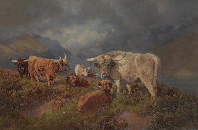 William Woodhouse (British, 1857-1939) Highland Cattle