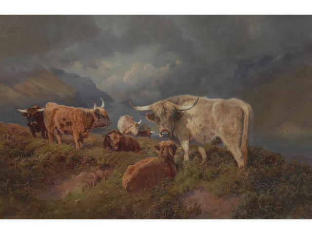 William Woodhouse (British, 1857-1939) Highland Cattle