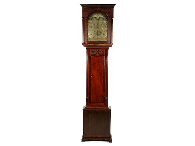 An early 19th Century mahogany-cased 8-day brass dial longcase clock with moon phase W. Oswald, Newbottle sold with two weights, pendulum, key and winder