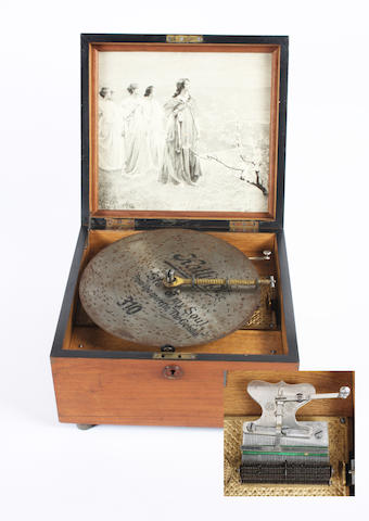 A Victorian walnut cased polyphone,