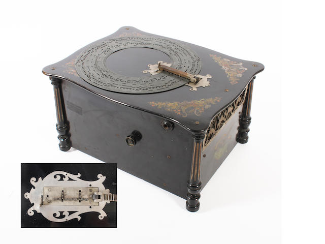 A Victorian black Japanned musical box,