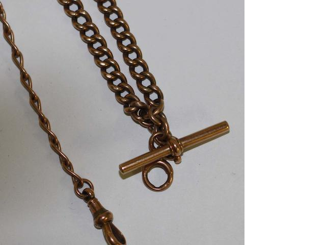 A 9ct rose gold double Albert watch chain, on 9ct gold open curb link watch chain and 'T' bar.