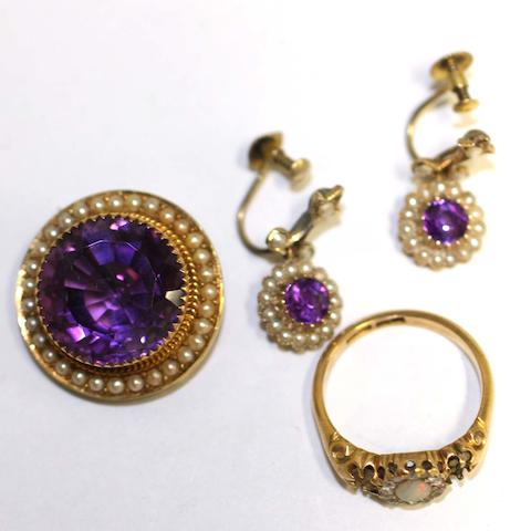 A 19th Century dress ring, set with a central opal and rose diamond cluster, flanked by vacant settings, an Edwardian boss brooch set with circular amethyst and seed pearls and pair of ear pendants, en suite.