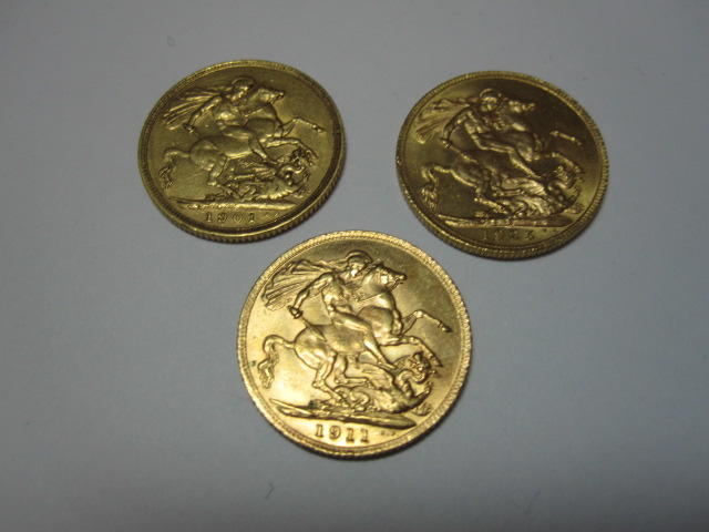 I One Victorian and two Edn sovereigns