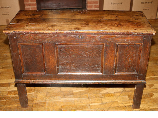 An early 18th century oak panelled coffer
