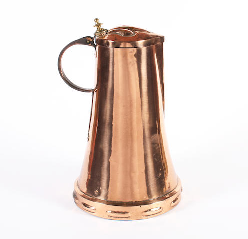 A large Art Nouveau style polished copper lidded jug