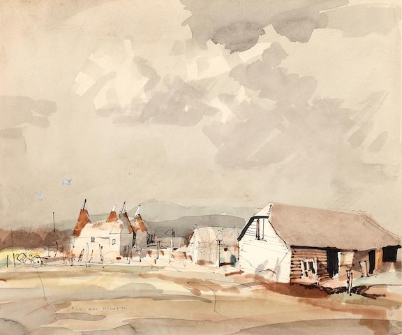 Rowland Hilder (British, 1905-1993) Oast Houses, Shoreham, Kent