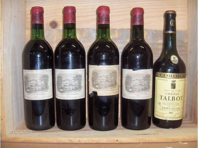 Chateau Talbot 1961 (1)<BR>Chateau Lafite Rothschild 1962 (1)<BR>Chateau Lafite Rothschild 1967 (1)<BR>Chateau Lafite Rothschild 1969 (1)<BR>Chateau Lafite Rothschild 1971 (1)