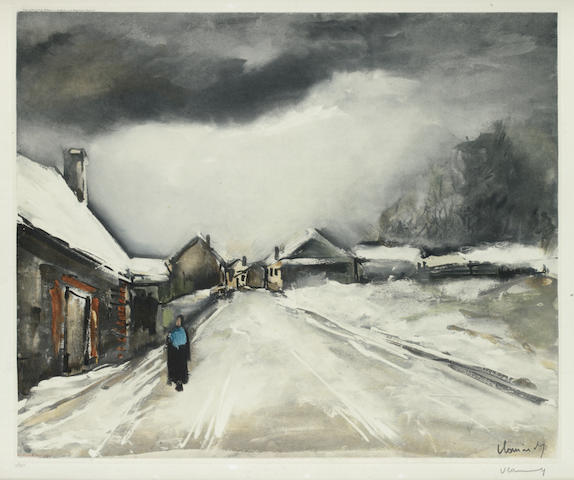 Maurice de Vlaminck (French, 1876-1958) Village Street under snow  Colour aquatint, on wove, signed and numbered 47/100 in pencil, 450 x 540mm (17 3/4 x 21 1/4in)(PL)