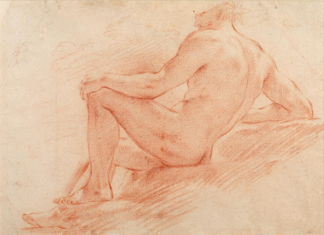Bolognese School, 17th/18th Century Study of a reclining male figure
