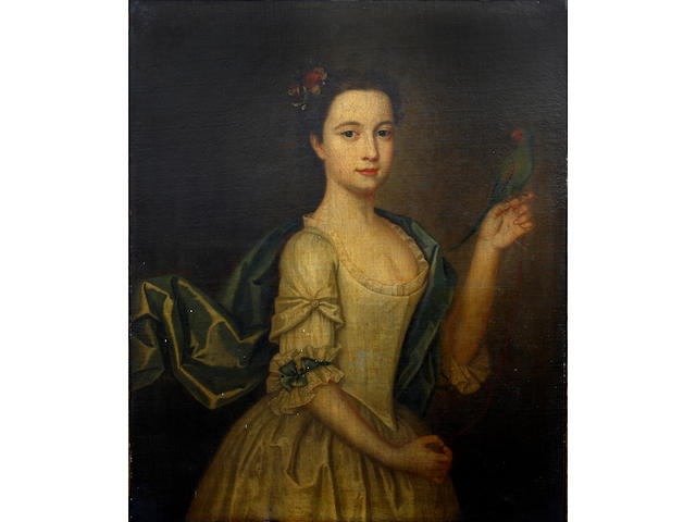 English School (Late 18th Century) Portrait of a young lady, with flower trimmed hair, holding a parakeet