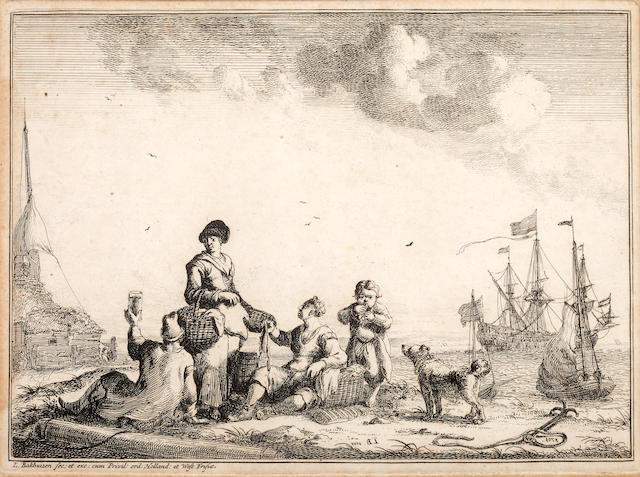 Ludolf Bakhuizen (Dutch, 1630-1708) Figures picnicking