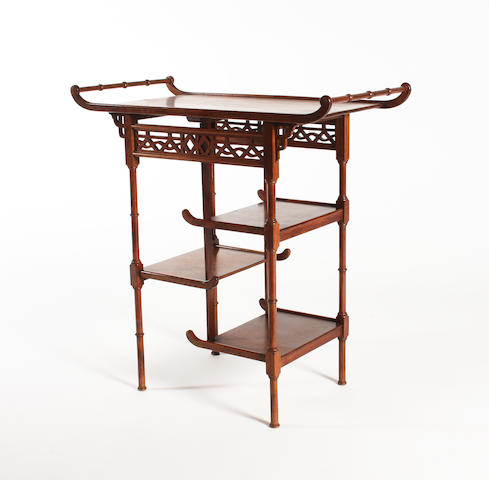 An Anglo-Japanese walnut occasional table in the manner of E. W. Godwin