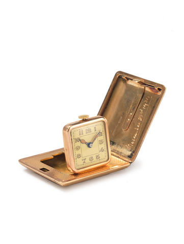 ASPREY: A  9 carat gold cased travelling timepiece, by Asprey & Co. Ltd, London 1929,