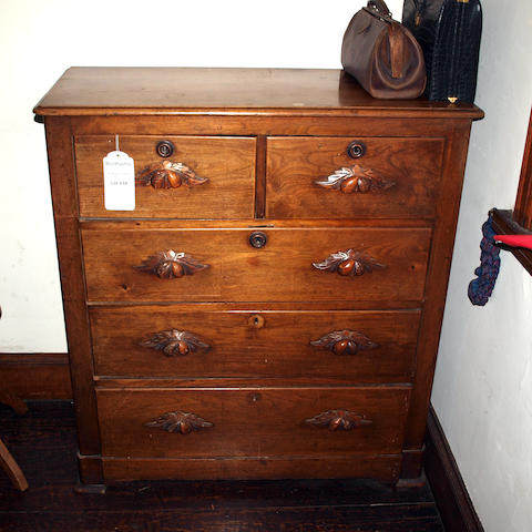 A late 19th Century chestnut chest of drawers