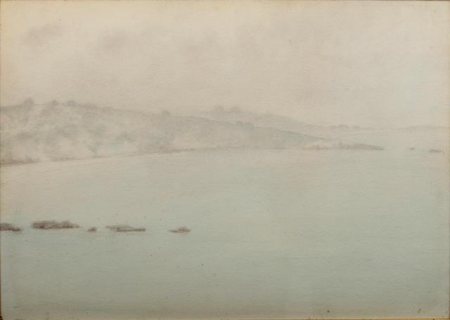 Yoshio Markino (Japanese, 1874-1956) A misty coastal landscape