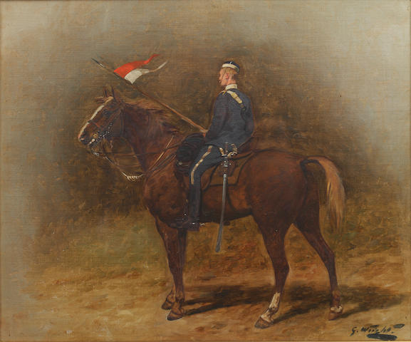 George Wright (British, 1860-1942) A mounted trooper of the 17th Lancers, circa 1890