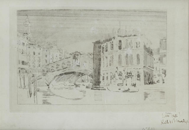 Walter Richard Sickert A.R.A. (British, 1860-1942) Venice, The Rialto and the Palazzo dei Camerlenghi Etching and engraving, c1902, on laid, fourth state of eight, with vertical lines on the left part of the wall, inscribed 'Sickert' in pencil lower right and below in dark ink 'Sickert (state) Rialto & Po Camerlenghi', 165 x 265mm (6 1/2 x 10 3/8in)(PL)