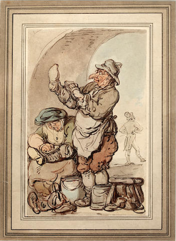 Thomas Rowlandson (British, 1756-1827) A boot black and his wife