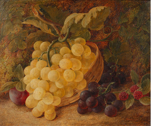 Vincent Clare (British, 1855-1930) Still life of grapes in a basket, and another of flowers on a mos