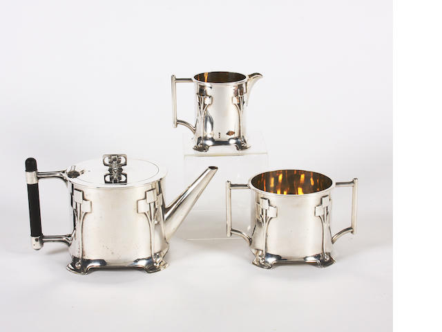 An electroplated three piece teaset