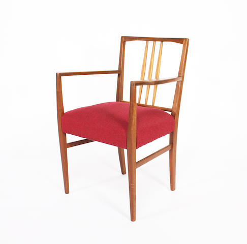 Four Gordon Russell mahogany elbow dining chairs, designed by W.H. Russell, circa 1950