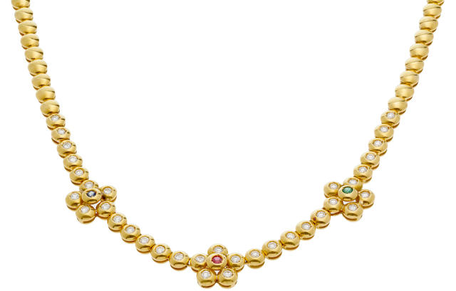 A diamond and gem-set necklace