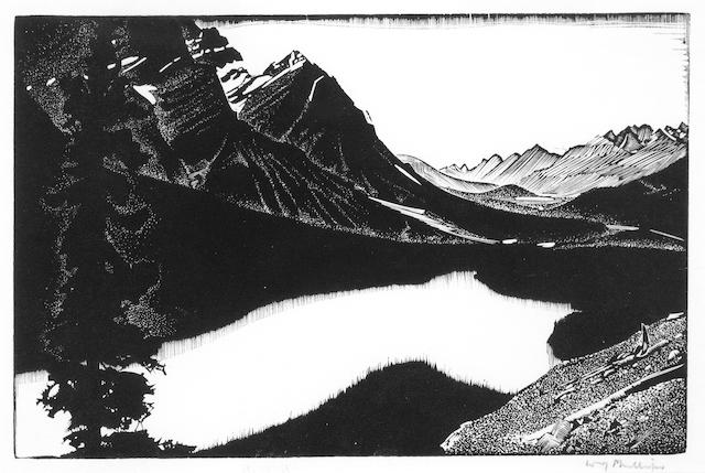 (n/a) Walter Joseph Phillips, RCA, ASA, CSPWC (Canadian, 1884-1963) Two views: Mistaya Valley-Peyto Lake and Lily image