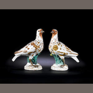 A pair of Meissen models of gulls (some restoration) circa 1756
