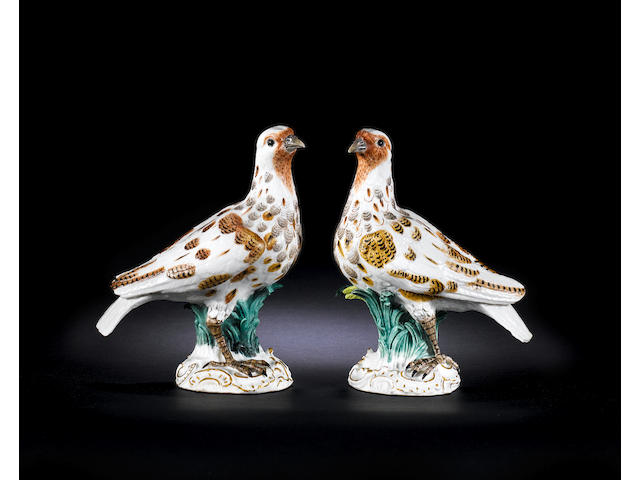 A rare pair of Meissen models of doves circa 1756