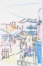 Frank Auerbach (British, born 1931) Architectural studies the first 29 x 19 cm. (11 3/8 x 7 1/2 in.); the second 29 x 18.5 cm. (11 3/8 x 7 1/4 in.); the third 29 x 19 cm. (11 3/8 x 7 1/2 in.); the fourth 28.5 x 19.5 cm. (11 1/4 x 7 5/8 in.)