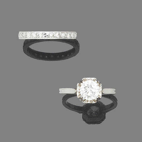 A diamond single-stone ring and a diamond eternity ring (2)
