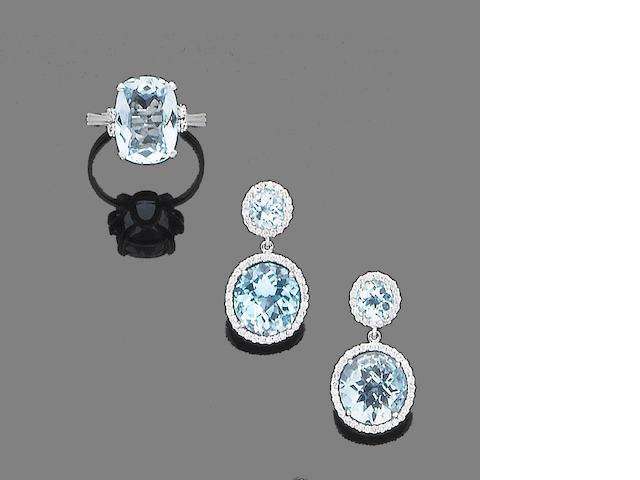 A pair of blue topaz and diamond earrings and an aquamarine and diamond ring (2)