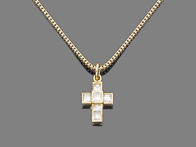 An 18ct gold and diamond cross pendant necklace, by Theo Fennell