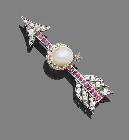 A cultured pearl, ruby and diamond arrow brooch