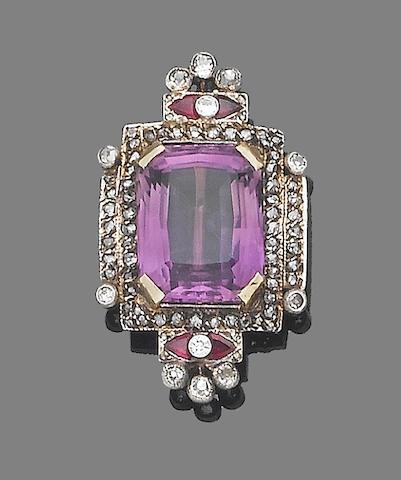 An amethyst, ruby and diamond brooch