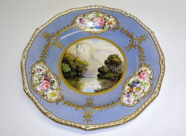 A Derby cabinet plate, painted by William Edward Mosley  Circa 1900