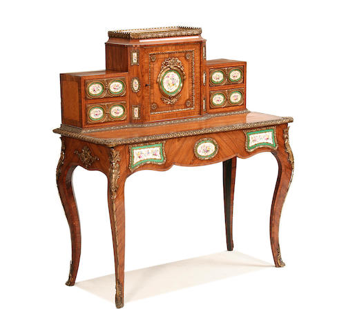 A good mid-19th century porcelain mounted satinwood and kingwood bonheur du jour