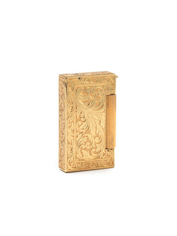 "DUNHILL: An 18 carat gold 'Broadboy MK2"" lighter, by Alfred Dunhill, London 1950,"