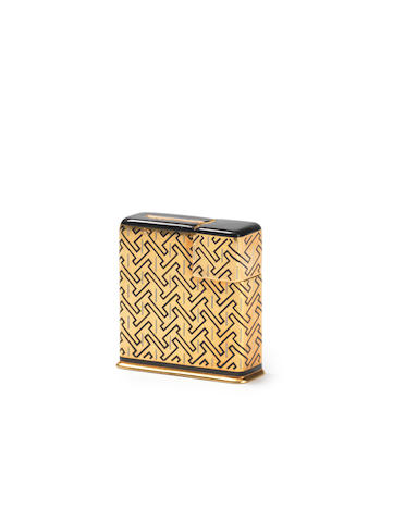 "CARTIER: An 18 carat gold and enamel lighter, by Jacques Cartier, London 1932, also engraved to underside ""Cartier London"","